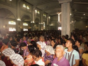 The packed Cathedral during Mass on Monday. It was hot!
