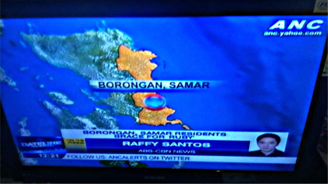 "Following the national news the morning we evacuated - headline reads, ""Borongan Residents Brace For Ruby"""