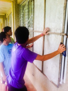 Boarding up the windows at the Training Centre